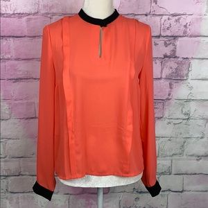 Olive & Oak pinky coral black trim blouse small